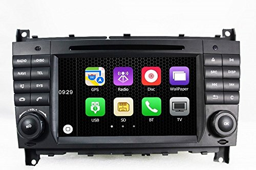 Gowe 2 DIN Auto DVD-Player 17,8 cm GPS Navigation für Benz C Class W203/W209 2004-2007 mit RDS/Bluetooth/Canbus/SWC/iPod/USB/ATV 2004 Gps