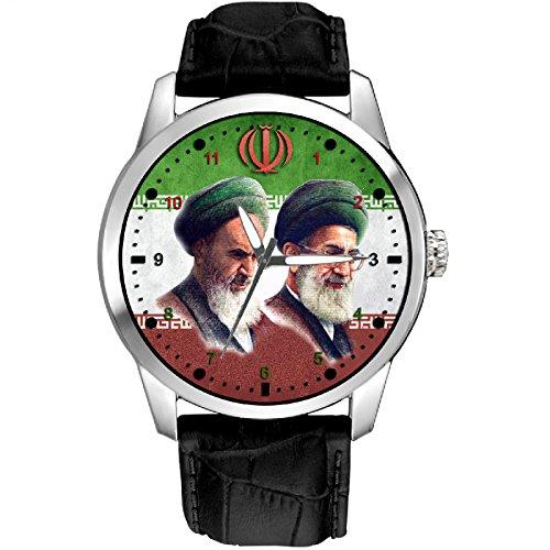Imam Khomeini und Ayatollah Khameini Shia Islamische Kalligraphie Sammelbar 40 mm Armbanduhr