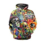 Xmas Men and Women Lovers Loose Large Size Street Style Skull Pattern Hooded Sweater Hoodies Pullovers Sweaters Baseball Clothing,FigureColor-M