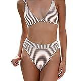 Amlaiworld Sommer gestreift drucken Band Bikini Set Mode Niedlich Tankini Sport Strand bademode elegant Damen badeanzüge Schwimmen mädchen Beachwear für mollige (XL, Weiß)