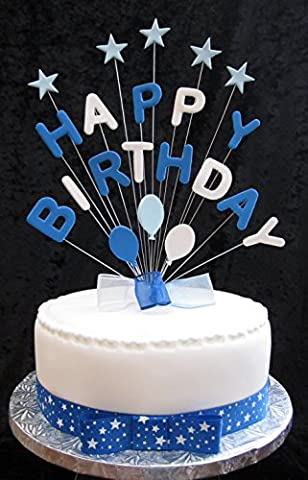 Happy Birthday Blues And White Cake Topper With Stars And Balloons PLUS 1 x Metre 25mm Blue Stars Grosgrain Ribbon