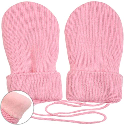 Preisvergleich Produktbild alles-meine.de GmbH sehr weiche _ Merino-Wolle Strick & Fleece - Fausthandschuhe - hell rosa / pink - Größe: 6 bis 18 Monate - Baumwolle & Schurwolle - Kinder / Baby - gefütt..
