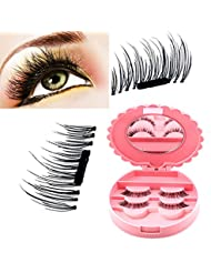 HailiCare 3D False Magnetic Eyelashes, 1 paire / 4Pieces 0,2 mm Ultra mince réutilisable Look naturel Fake Mink Eye Lashes Magnet Eyelashes Extension pour Deep Set Eyes & Round Eyes, avec Boîtier de Rangement