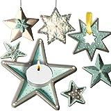 geburtstagsfee Kinder-Bastelset für Sternen-Deko zu Weihnachten, Beton-Weihnachtsstern gießen