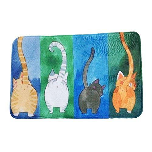Preisvergleich Produktbild HENGSONG Niedlichen Cartoon Katze Rechteck Fußmatte Teppich 40*60cm Schlafzimmer Wohnzimmer Baby Kinderzimmer Türmatte Teppich (D)