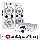 DJ PA Anlage DJ-22 Komplettsystem aus Verstärker Boxen Mic Kabel