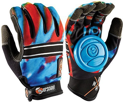sector-9-bhnc-longboard-skateboard-slide-gloves-acid-blue-with-slide-pucks-size-l-xl-by-sector-9