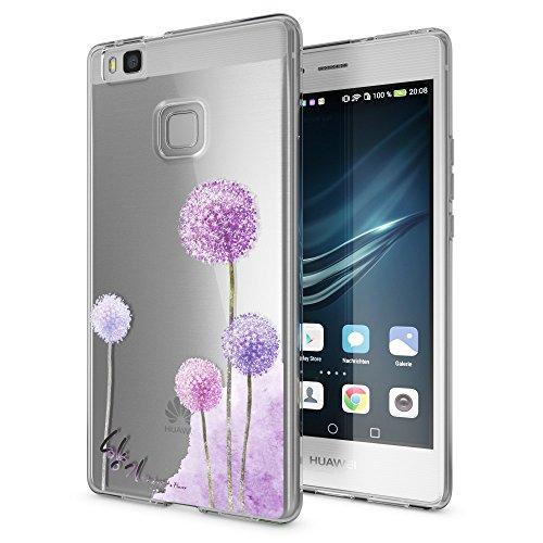 Huawei p9 lite cover custodia protezione di nalia, silicone trasparente sottile case, gomma morbido cellulare ultra-slim protettiva bumper guscio per p-9 lite telefono, designs:dandelion pink rosa