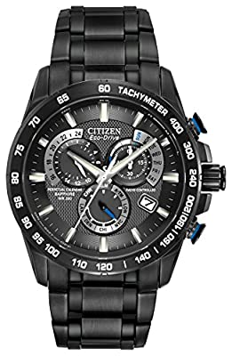 Citizen Men's Eco-Drive Chronograph Watch with a Dial and Stainless Steel Bracelet AT4007-54E - Black
