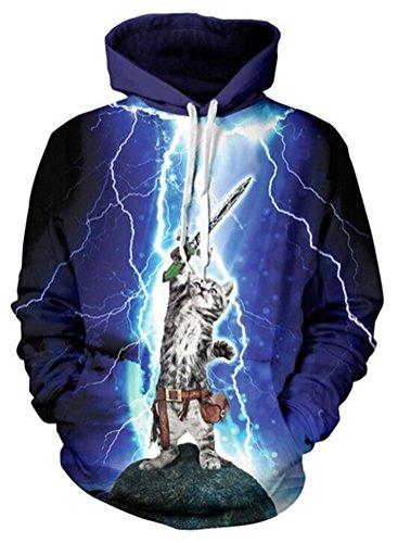 SMITHROAD Damen Unisex Kapuzenpullover Sweatshirt mit Kapuze und Kordelzug 3D Aufdruck Print Hipster S-XL Hoodie Blau Blitz
