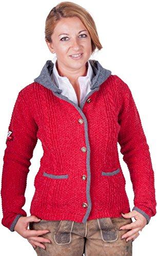 Almwerk Damen Strick Jacke Antonia mit Abnehmbarer Kapuze in Verschiedenen Farben, Größe Damen:4XL - Größe 48;Farbe:Rot/Grau - 2