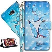 HMTECH LG Xpower 2 Hülle Luxus 3D Blau Schmetterling Flip Standfunktion Karten Slot Magnetverschluß Brieftasche... preisvergleich bei billige-tabletten.eu