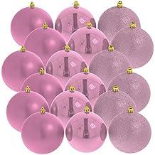 Christbaumkugeln Weihnachtskugeln 6 cm, 18er Pack, rosa glänzend/matt/glitzernd