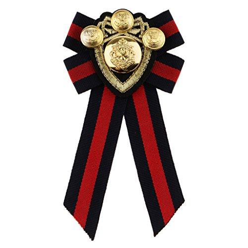 Homyl Schleife form Herren Abzeichen Kleidung Mode Kostüm Brosche, Anzug Accessoire - roter Streifen