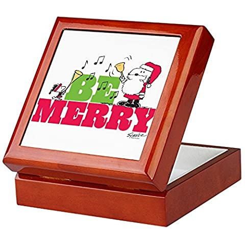 CafePress–Snoopy: Be Merry–Andenken Box, beendet Hartholz Jewelry Box, Samt Gefüttert Memento Box (Snoopy Charlie Brown Christmas)