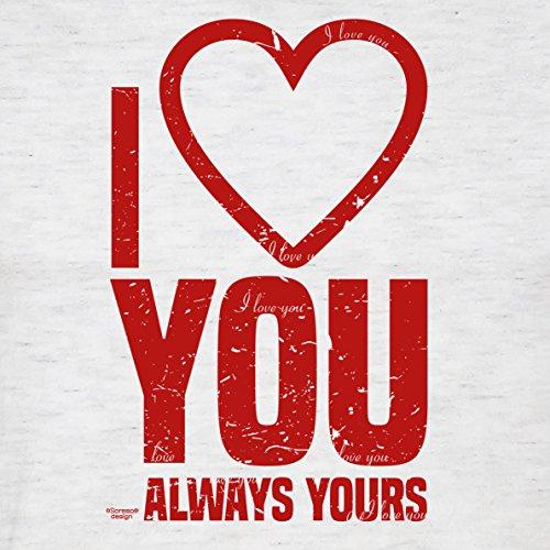 Herren kurzarm Fun T-Shirt :-: Geschenk-Idee-Valentinstag Motiv: I love you :-: für Mama Papa für Sie und Ihn :-: Farbe: grau Grau