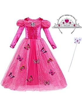 ChunTian Abito da Principessa Bambina Vestito Ragazza Carnevale Fantasia Farfalla Lunga Manica Rosa Costume Cerimonia...