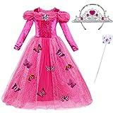 ChunTian Deguisement Princesse Robe Fille Costume Papillon Rose Enfant Manches Longues Carnaval avec Couronne Baguette Magique - Rose - 120cm: poitrine 62cm/24.2, 4-5ans