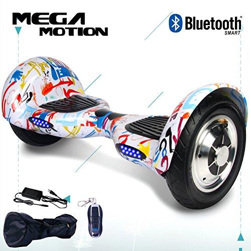 "Mega Motion 10\"" Elektro Scooter Elektroroller Skateboards Bluetooth mit Lautsprecher Hoverboard 10 Roll Reifen Aufblasbar"