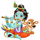 Decals Design 'Lord Krishna with Flute Cute' Wall Sticker (PVC Vinyl, 50 cm x 70 cm, Multicolour)