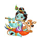 Decals Design 'Lord Krishna with Flute Cute' Wall Sticker (PVC Vinyl, 50 cm x 70 cm)