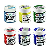 Dylon Fabric Paint Set - Brights - 6 x 25ml Pots (Turquoise, Yellow, Green, Red, Purple, Royal Blue)