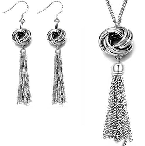 Crystal Girls Pullover (Lange Quaste Halskette Schöne Knoten Kreis Anhänger Silber Ton Schlangenkette für Frauen (Halskette + Ohrringe))