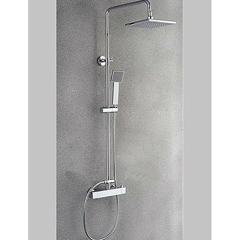 Baño termostático de latón de lujo general el grifo de la ducha de lluvia con acabado cromado Square el grifo de la ducha baño ducha grifo mezclador