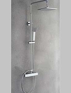Duscharmaturen - Zeitgenössisch - Wasserfall / Thermostatische / Regendusche / Handdusche inklusive - Messing (Chrom)
