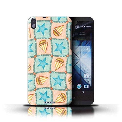 Kobalt® Imprimé Etui / Coque pour HTC Desire 816 / Violettes/Vertes conception / Série Bateaux étoiles Turquoise/Orange