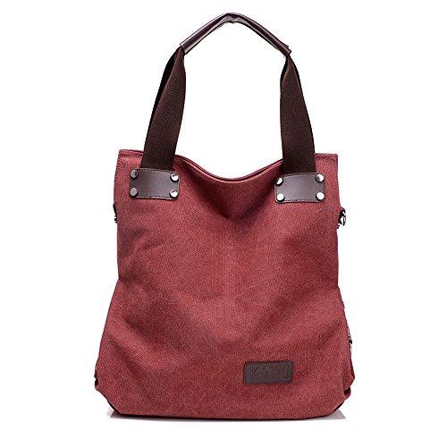 Wewod, Borsa a mano donna Multicolore Multicolore 42*15*38cm, marrone (Multicolore) - ZY-837 rosso