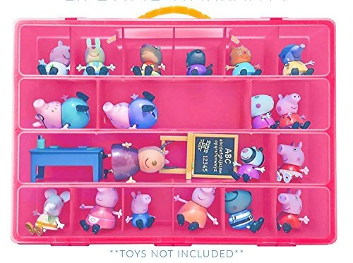 My Pig Pen Sturdy Case Storage Box Organizer with Carrying Handle (Pink), Holds upto 30 Toys (Peppa Nick Jr Pig)