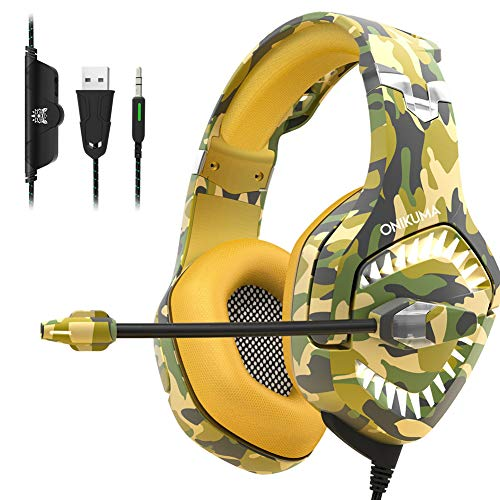 CCYYA Gaming Headset, 3,5Mm Stereo-Over-Ear-Kopfhörer Mit Noise Cancelling Mikrofon Und Lautstärkeregler Stirnband-Kopfhörer Für PC, Xbox One, PS4, Mac, Laptop, Mobiltelefone,Camouflageyellow