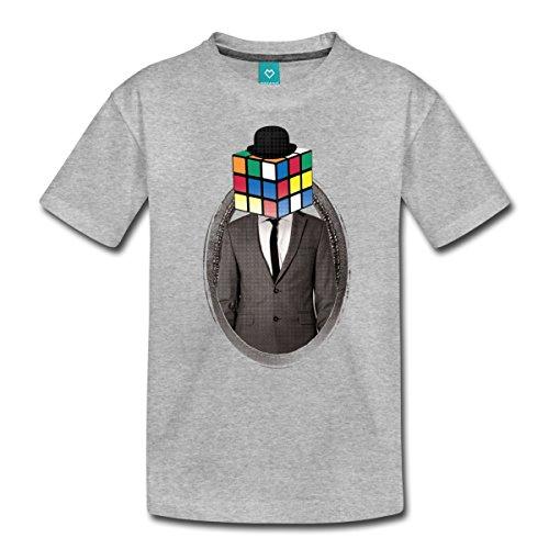 Spreadshirt Rubik's Cube Zauberwürfel Porträt Teenager Premium T-Shirt, 158/164 (12 Jahre), Grau meliert (80er-jahre-spiele-t-shirts)