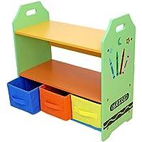 Preisvergleich für Bebe Style Holzgestelle Regale mit drei Aufbewahrungsboxen, Crayon Themen