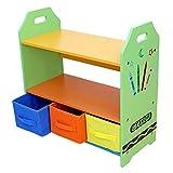 Bebe Style GCR3B3TS Holzgestelle Regale mit drei Aufbewahrungsboxen, Crayon Themen, grün