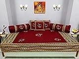 Bright Cotton Diwan Set Embroidery Patchwork Cotton Rajasthani Dance Design Maroon Red Divan Set DIVAN105-4