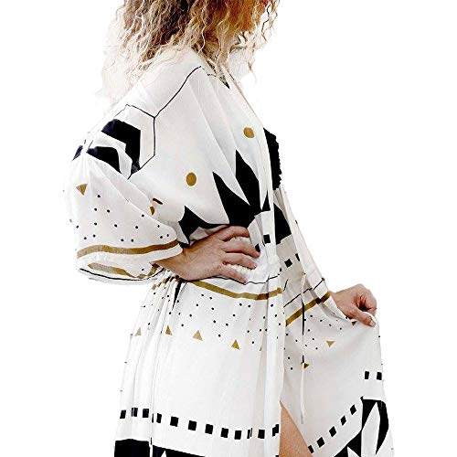 Zoye Chen Damen Sommer Bluse Lose Kimono Floral Print Cardigan Chiffon Beachwear Kleid - weiß - Einheitsgröße Floral Print Chiffon Kleid