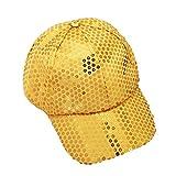 Sombrero,❤️Btruely Herren Gorra de béisbol de Sequin Adolescentes Gorra de Béisbol Lentejuela Ajustable Unisex Gorras de Hip Hop Impresión Cap Hat (Amarillo)
