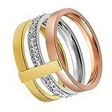 OAKKY Damen Dreifarbig Diamant Stapel Ring mit CZ Hochzeit Erklärung Band Edelstahl, Größe 52 (16.6)