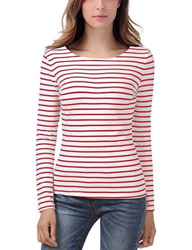 EA Selection Damen Ringel T Shirt Baumwoll Streifen Striped Marine Basic Weiß-Rot M (Weiß-streifen-baumwoll-shirt)
