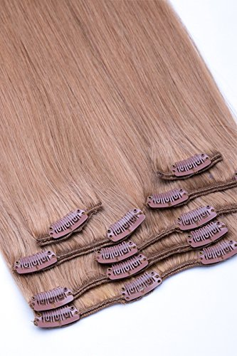 Clip In Extensions Set 100% Echthaar 7 teilig 70g Haarverlängerung 45cm Clip-In Hair Extension Nr. 18 Dunkelblond