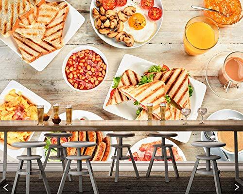 Sucsaistat Saft Sandwich Brot FrÜHstÜCk Essen 3D Tapete Wandmalereien FÜR Wohnzimmer KÜChe Fast Food Shop Restaurant Cafe,400 * 280Cm Fast-food-sandwiches