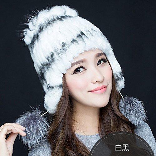FQG*Winter Sweater capuchon marée cheveux lapin automne hiver lapin du chapeau de paille en cuir chapeaux cheveux , Mme theordinary white Blanc / Noir