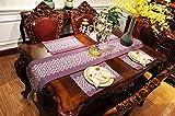 Tischläufer Lila Im Europäischen Stil, Moderne Rechteckige Tischläufer Für Couchtisch Und Hochzeit Mehrfarbige Stickerei Tartan Design Mit Quaste, 30 * 210 cm.