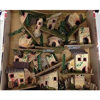 Casitas de decoración de Navidad para Belén, varios adornos, de 6x 5x 8cm, 12unidades Mi003747