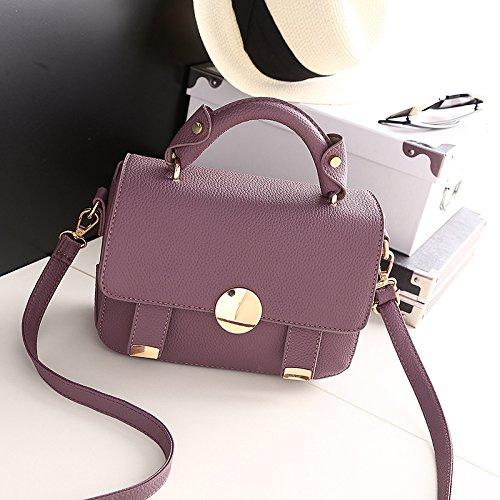 LDMB Damen-handtaschen Tide Schulter Hand Messenger Bag einfach Wild kleines Quadrat-Paket circle deep purple bag