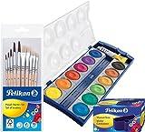 Pelikan 700405 Starter 5 Haar-und 5 Borstenpinseln (Kombi-Set Wasserbox), Borstenpinsel, Farbkasten + Pinsel + Box