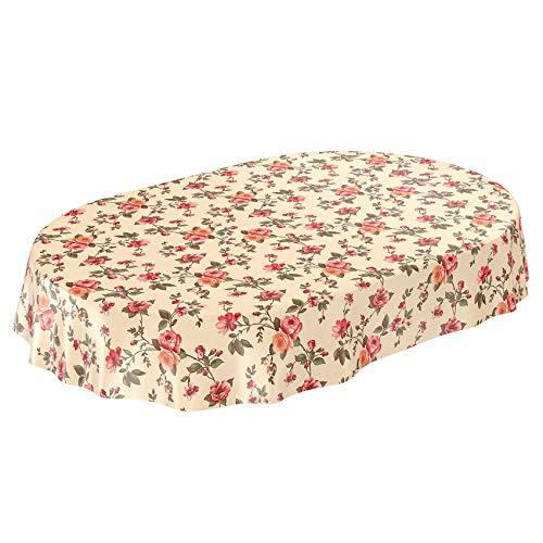Anro - tovaglia cerata effetto tessuto con rose, colore beige, asciugamani, schnittkante, oval 140 x 240cm
