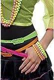 Smiffy's 1980s Neon Beaded Bracelets 80s Fancy Dress Ladies Costume Rave Womens Accessory